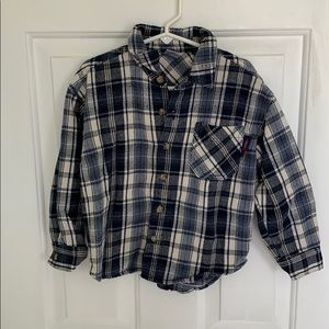 Boys blue and white flannel button down size 2T
